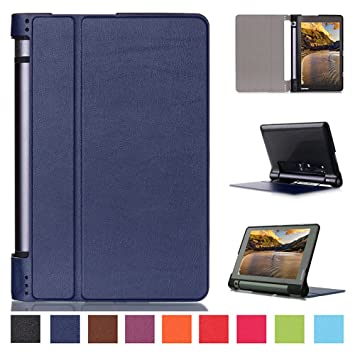 Kepuch Custer Case for Lenovo Yoga Tab 3 8.0 850F,Ultra-Thin PU-Leather Hard Shell Cover for Lenovo Yoga Tab 3 8.0 850F - Blue