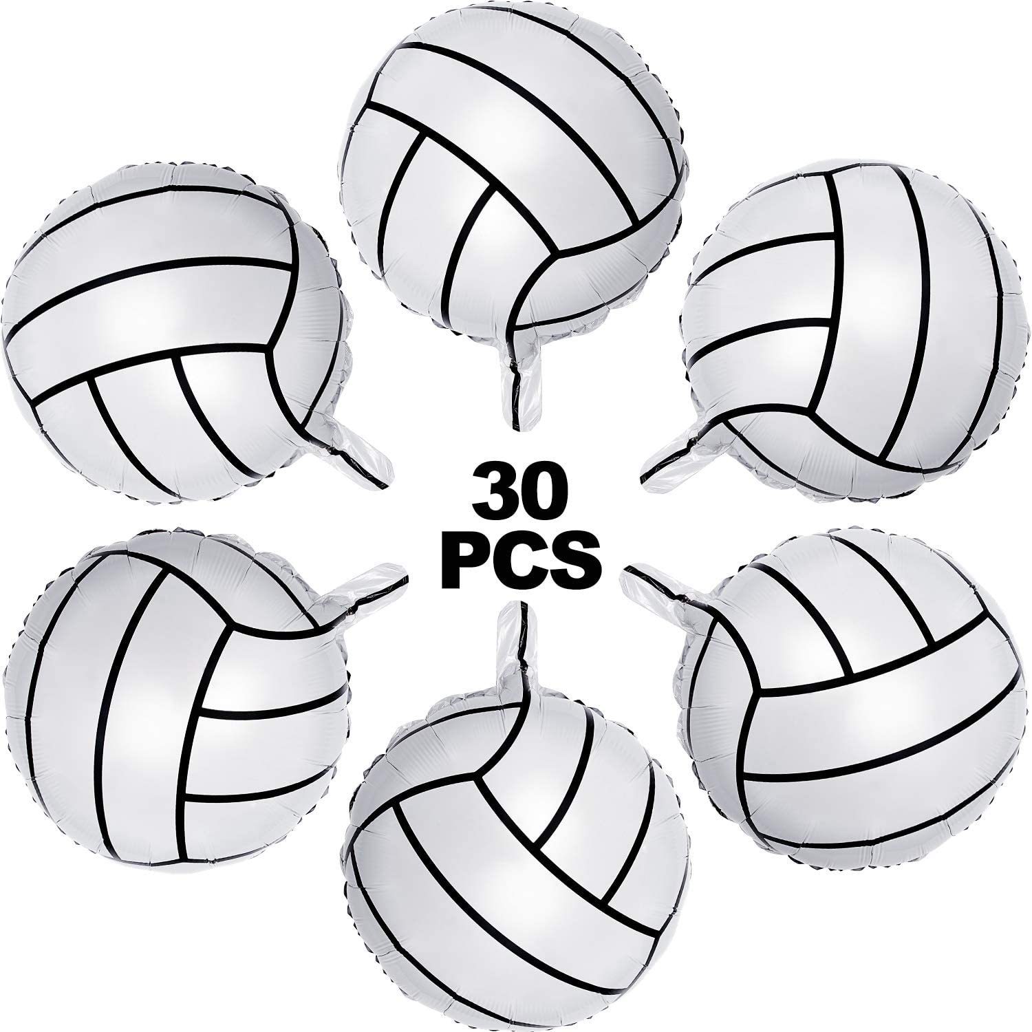 30 Pieces Volleyball Balloons Volleyball Aluminum Foil Balloons Volleyball Sports Themed Party Decoration for Birthday Holiday Party Supplies