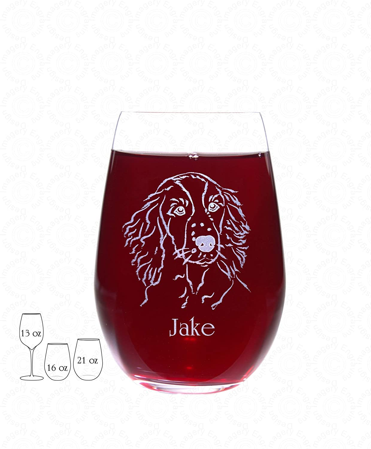 Springer Spaniel Wine Glass with Optional Side 2 Personalization