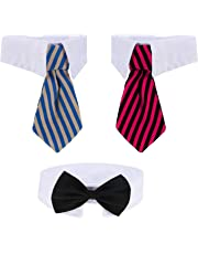 3 Pieces Adjustable Pets Dog Cat Bow Tie Pet Costume Necktie Collar for Small Dogs Puppy Grooming Accessories (S)