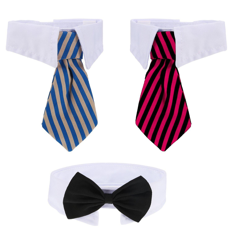 3 Pieces Adjustable Pets Dog Cat Bow Tie Pet Costume Necktie Collar ...