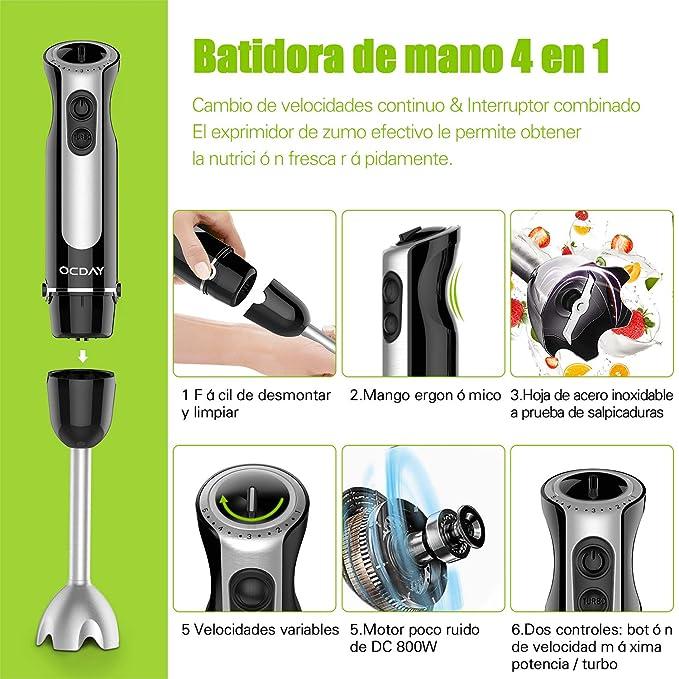 Batidora de mano, OCDAY licuadora de inmersión 4 en 1, 800 vatios con control de 6 velocidades(Negro): Amazon.es: Hogar