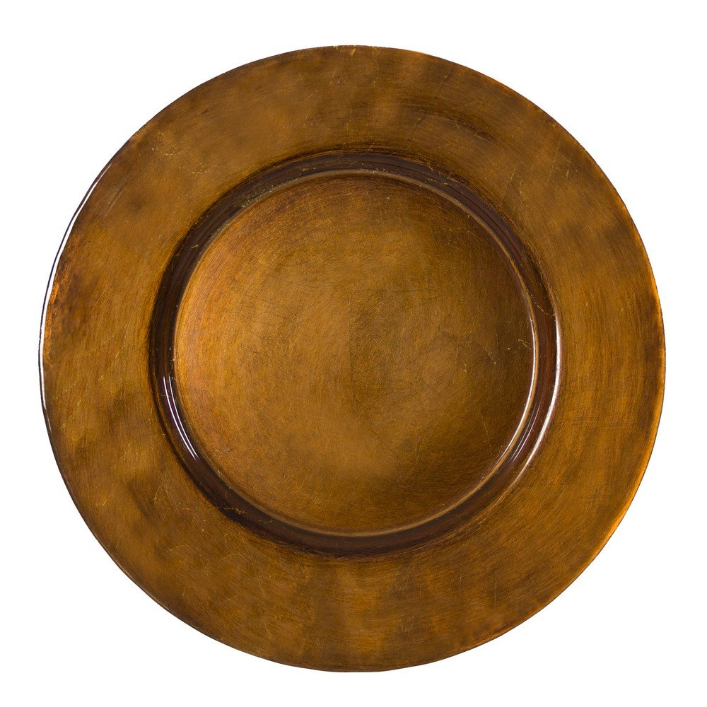 10 Strawberry Street Metallic Glass 13'' Charger Plate, Set of 4, Antique Copper