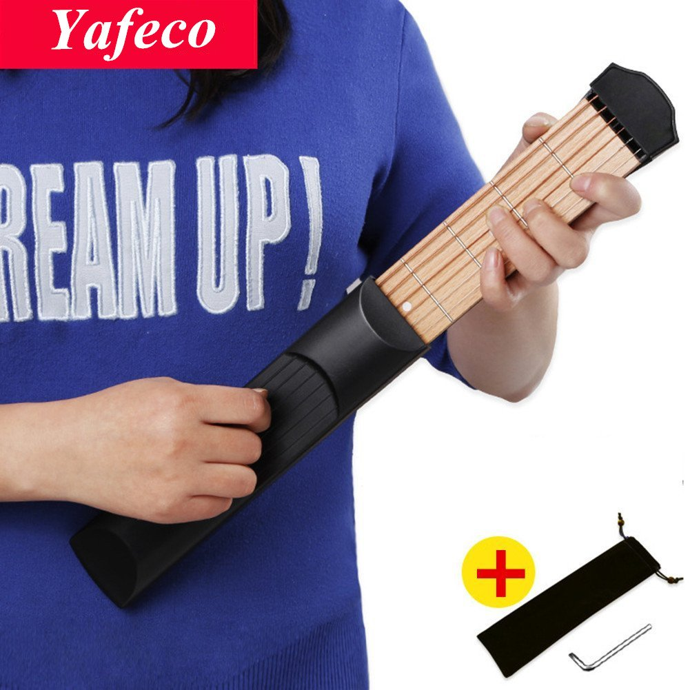 Yafeco Wooden Pocket Guitar, 6 Fret Portable Guitar Practice Tool Gadget For Beginner Chord Trainer, Chord Fingering Pratice Tool