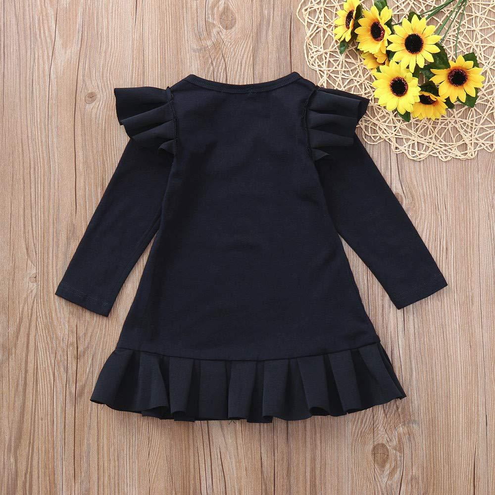 7bb53ca4a ... Vestido Infantil de Princesa con Volantes de Manga Larga para niñas  bebés Faldas Camisas Tops Primavera Otoño Invierno 6 Mes - 4 Años   Amazon.es  Ropa y ...