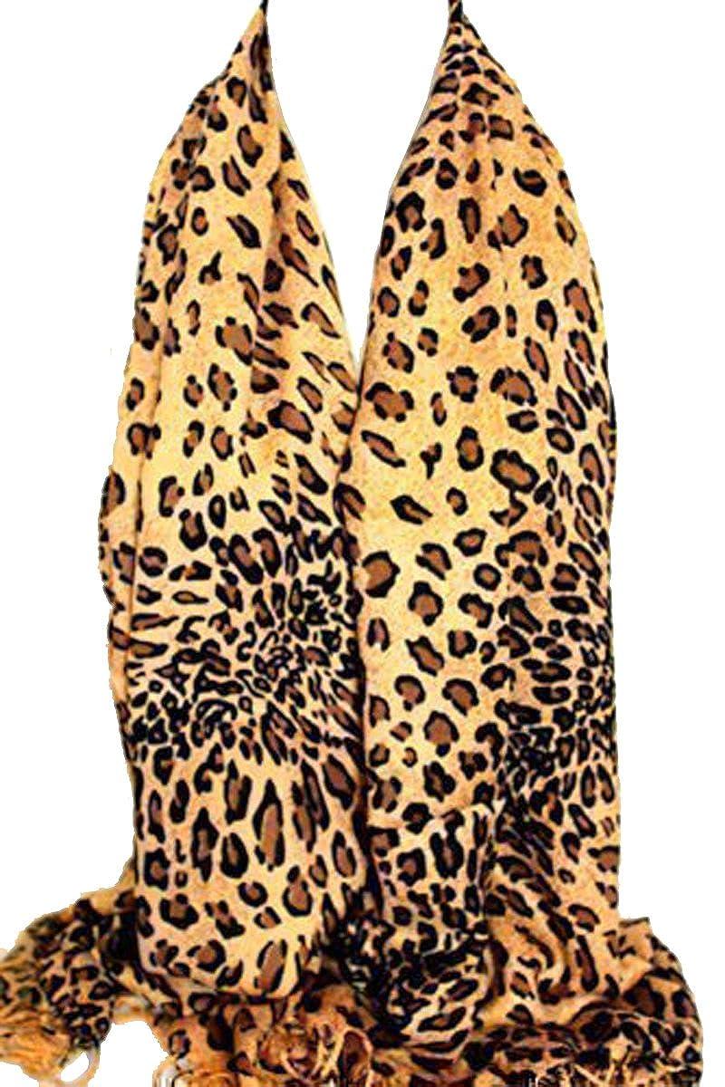Brauner Leoparden Muster Pashmina Fühlen Schal Stola Umschlagtuch