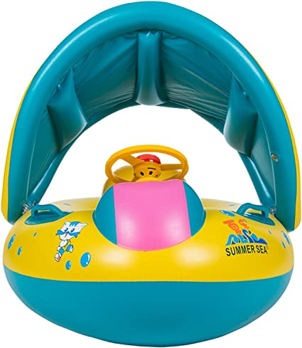 Swimming Ring Inflatable Baby Float Sunshade Swimming Boat Seat W// Sun Canopy