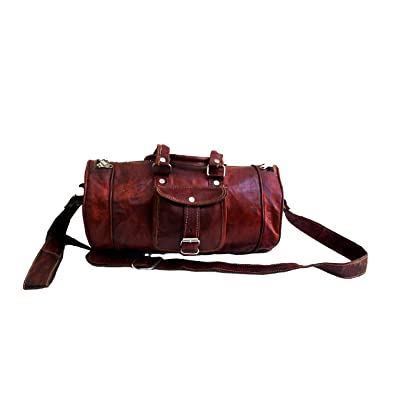 "16"" Inch Men's Pure Leather Light Weight Small Weekender Sports Gym Duffle Bag"