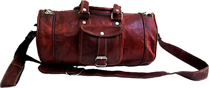 "16/"" Men/'s genuine Leather large vintage duffle travel gym weekend overnight bag."