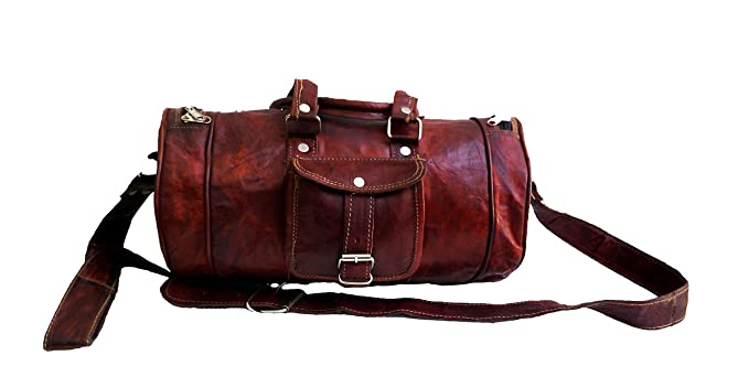 0376226c4514 Image Unavailable. Image not available for. Color  16 quot  Inch Men s Pure Leather  Light Weight Small Weekender Sports Gym Duffle Bag
