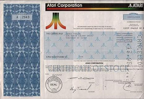 1989 RARE ORIGINAL 1980s ATARI STOCK CERTIFICATE w
