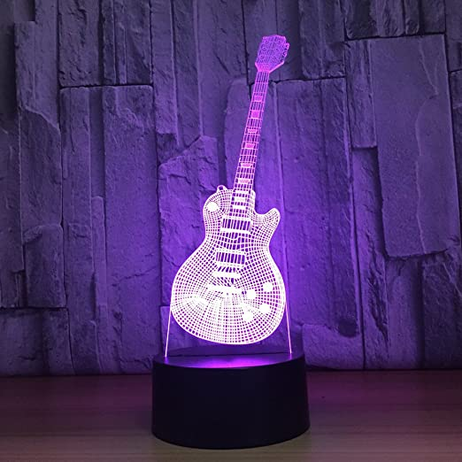 LLZGPZXYD 3D 7 Colorido Led Música De Moda Guitarra Eléctrica ...