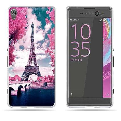 FUBAODA Funda Carcasa para Sony Xperia XA/F3111, Gel de Silicona TPU, Diseño Romántico de la Torre Eiffel, Carcasa Protectora de Goma Sony Xperia ...