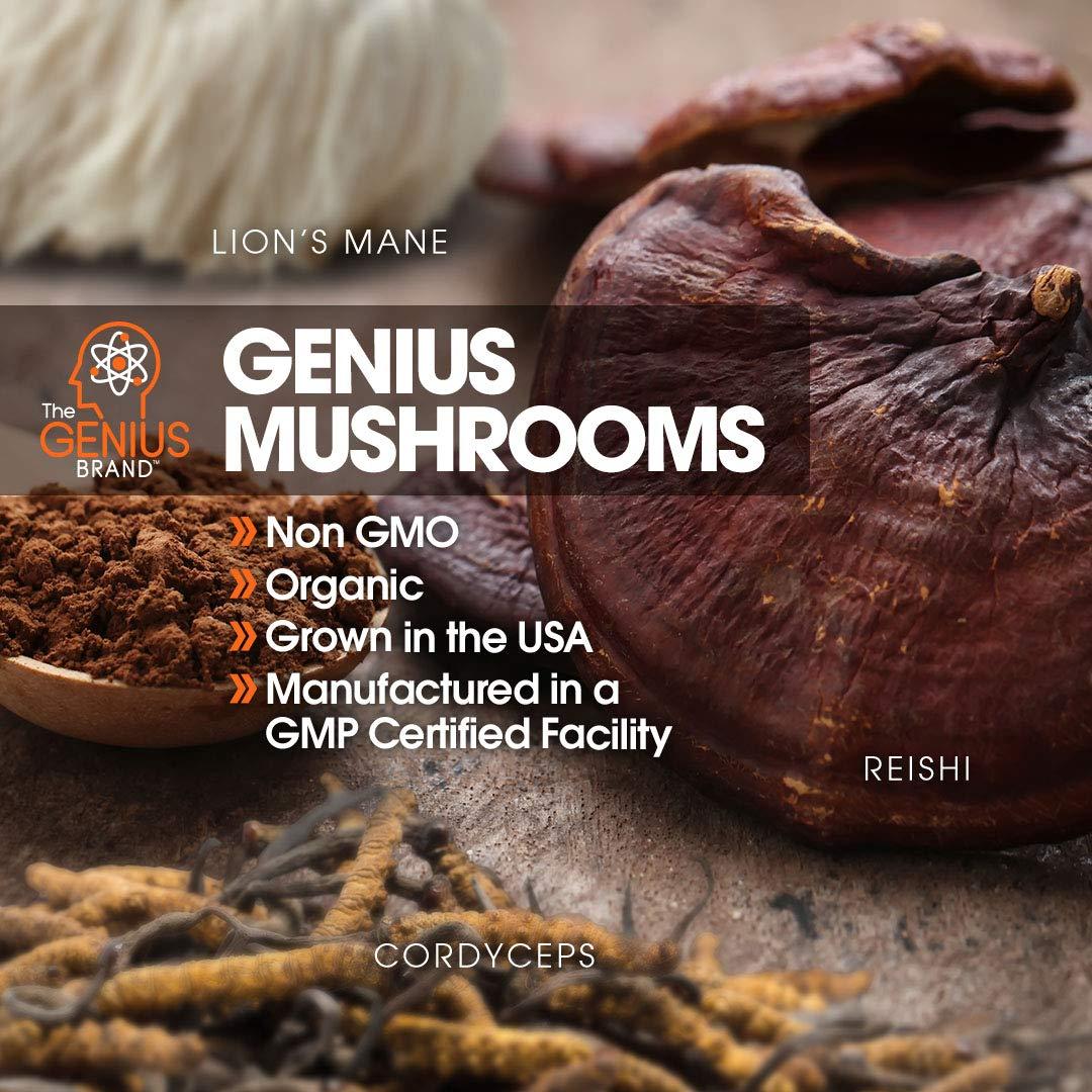 Genius Mushroom – Lions Mane, Cordyceps and Reishi – Immune System Booster  & Nootropic Brain Supplement – Wellness Formula for Natural Energy, Stress