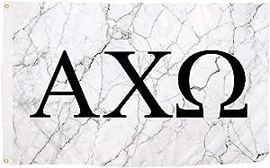 Alpha Chi Omega Sorority Letter Flag Banner 3 feet x 5 feet Sign Decor AXO - Light Marble