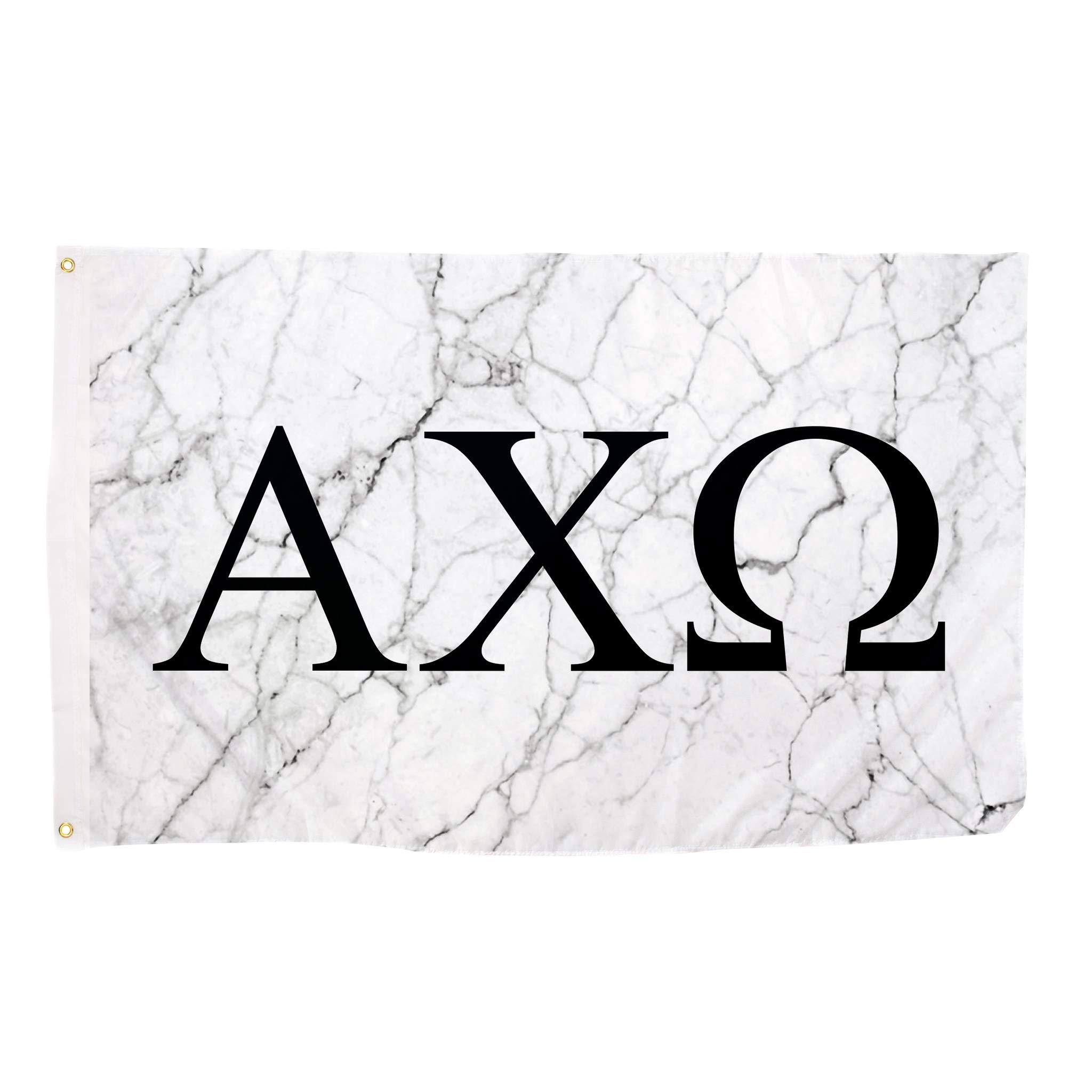 Alpha Chi Omega Light Marble Sorority Letter Flag Banner 3 x 5 Sign Decor AXO