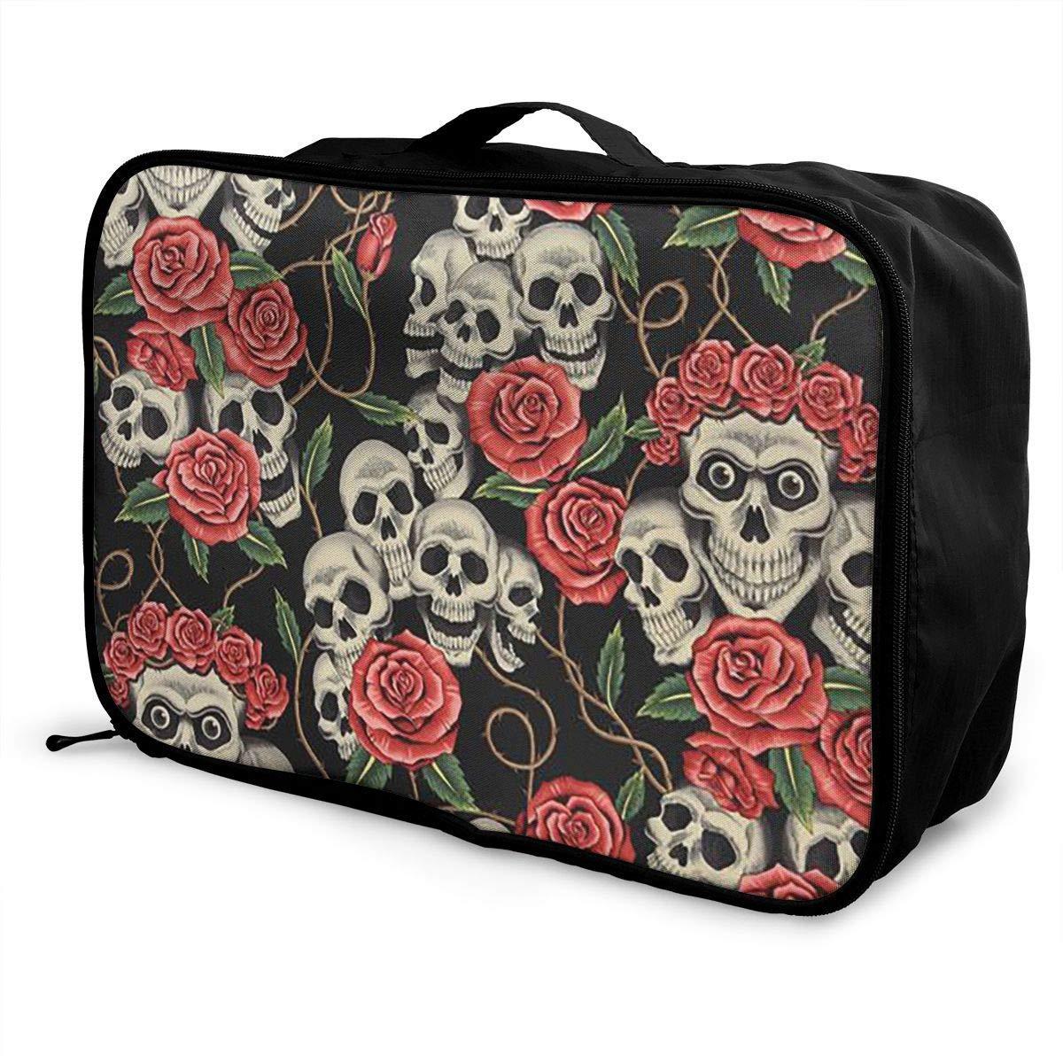 Portable Luggage Duffel Bag Sugar Skull Travel Bags Carry-on In Trolley Handle