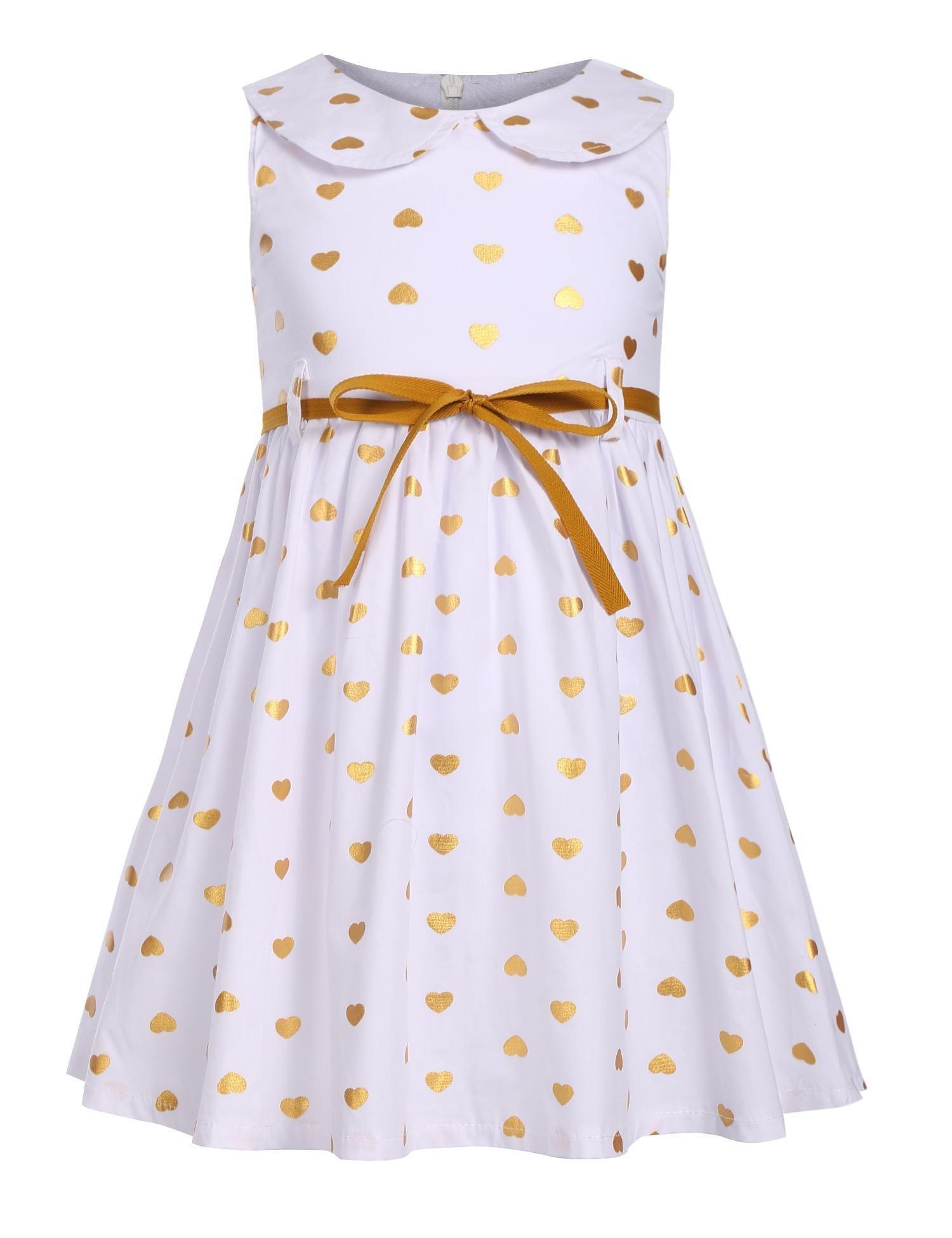 Arshiner Girls Sleeveless Doll Collar Dress Vintage Polka Dot Swing Peter Pan Collar Dress With Belt