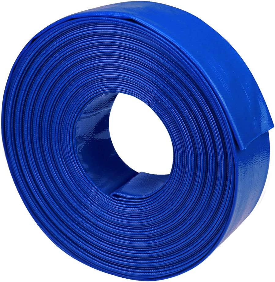 "olagoya 2"" Dia x 100 ft Backwash Hose for Swimming Pools, Heavy Duty Reinforced Lay Flat Discharge Hose for Water Transfer Applications"