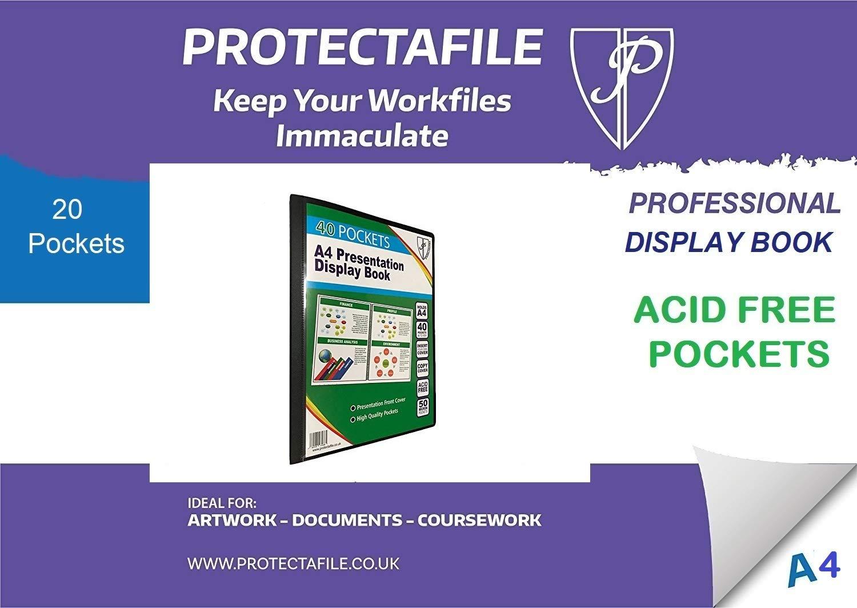 80 View Blue Recycled Display Book Presentation Quality Folder Portfolio 1 x Book A4 40 Pocket