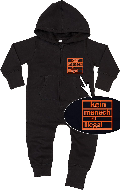 Racker-n-Roll KEIN Mensch IST ILLEGAL Baby All-in-one Sweatsuit Black 47279