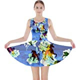 CowCow Womens Party Unicorn Space & Thanksgiving Double Side Skater Dress, Sizes:XS-5XL
