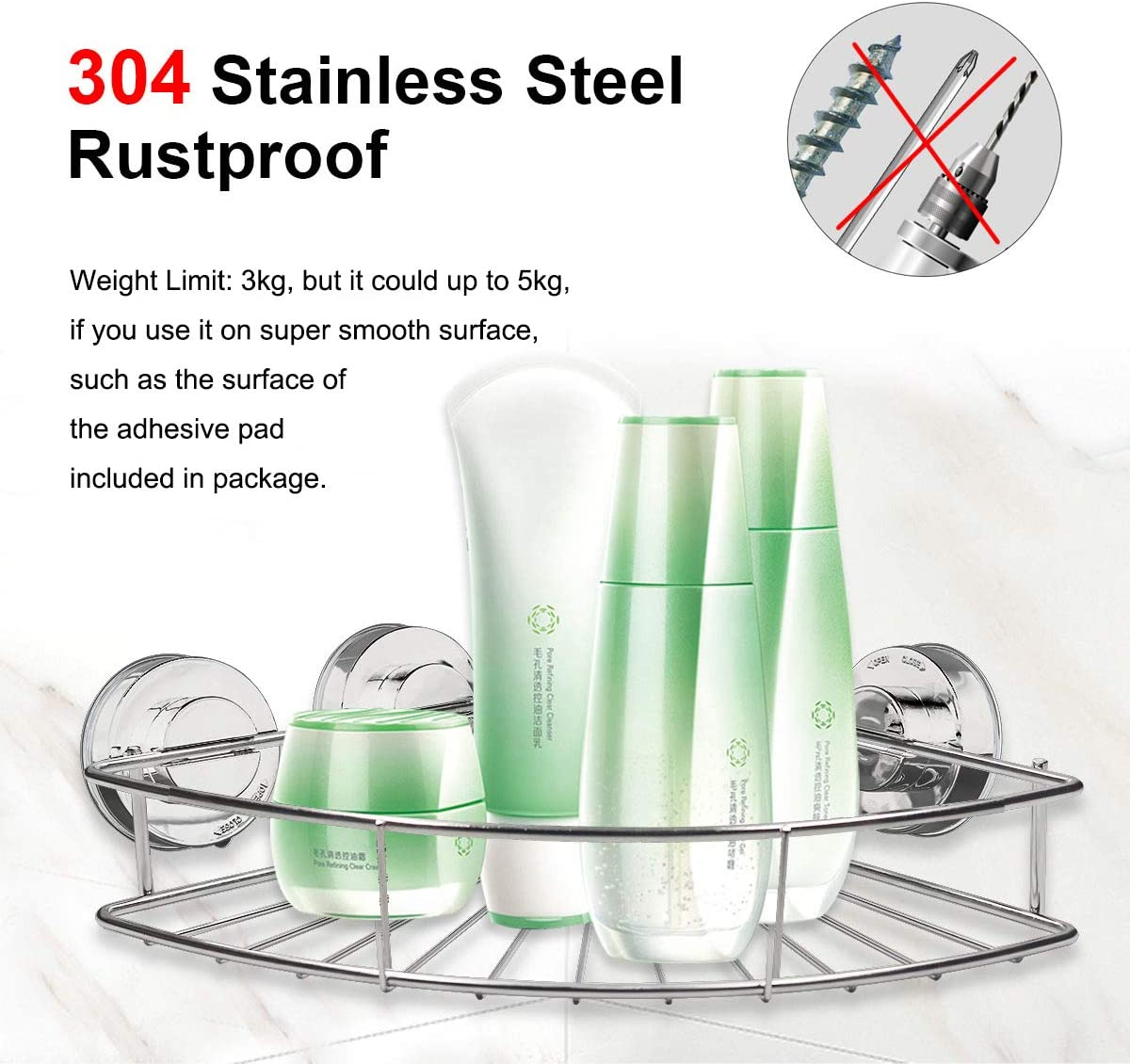 Wall Mounted Corner Shelf Shower Caddy Basket Bathroom Triple Storage Holder Adhesive Suction Cup Deep Triangle Space Organizer Rack for Kitchen Toilet 304 Stainless Steel Rustproof No Drilling