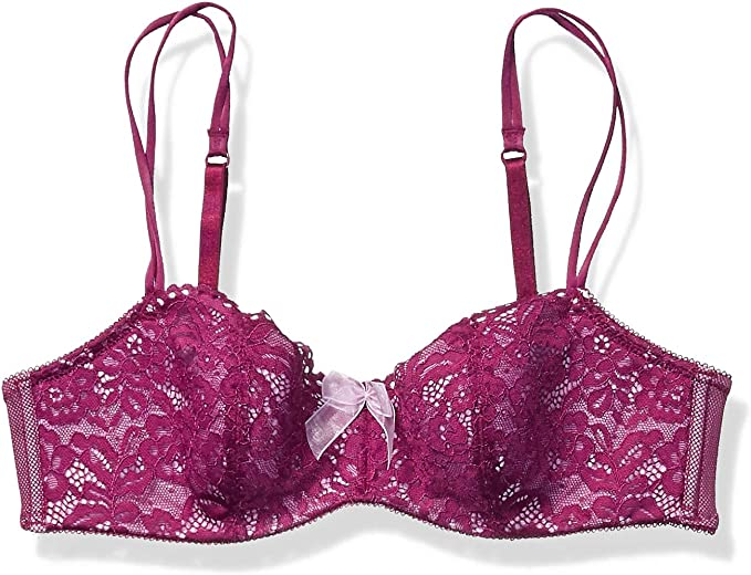 Wacoal Bra B Tempted Ciao Bella Balconette 36 C Purple Lace Overlay 953144