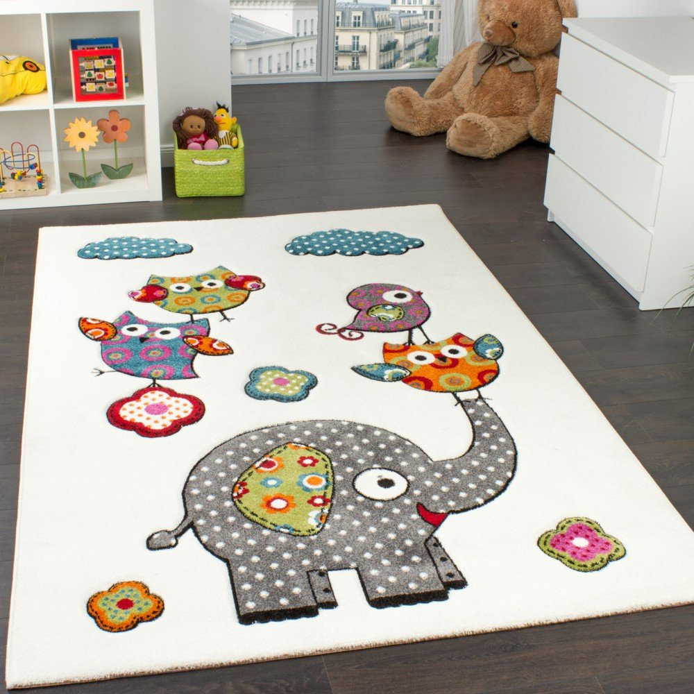 Paco Home Kinderzimmer Teppich Niedliche Bunte Zootiere Eulen mit Elefanten Mehrfarbig, Grösse 200x280 cm