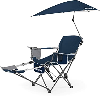 Amazon Com Sport Brella 3 Position Recliner Chair With Removable Umbrella And Footrest Midnight Blue Sports Outdoors