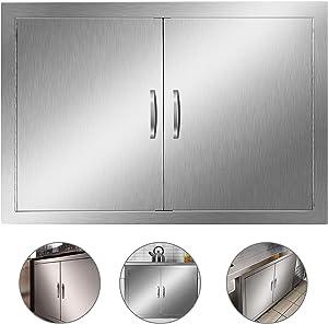 Outdoor Kitchen Door, Heavy Duty BBQ Access Door, 30.5''W x 21''H Flush Mount Stainless Steel Double BBQ Island Door, for Outdoor Kitchen, BBQ Island & Grilling Station,Double Door ((30.5W x 21H))