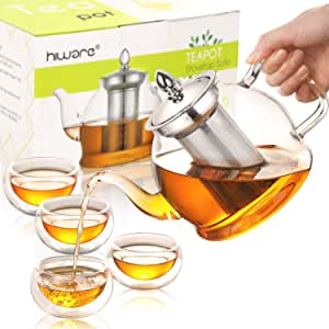 Hiware Glass Teapot Set, 32 OZ Glass Teapot with Removable Infuser and 4 Cups, Stovetop Safe Tea Kettle, Blooming and Loose Leaf Tea Maker Set