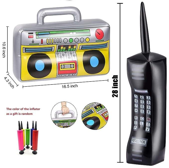 BoomBox inflable y teléfono móvil inflable Set de juguete - 3 ...