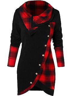 3cc338011ce BeautyGal Women s Cowl Neck Plaid Drawstring Button Hoodie Tunic Sweatshirt