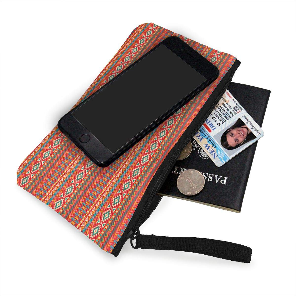 Native American Mexican Pattern Canvas Change Coin Purse Retro Change Cash Bag With Zip