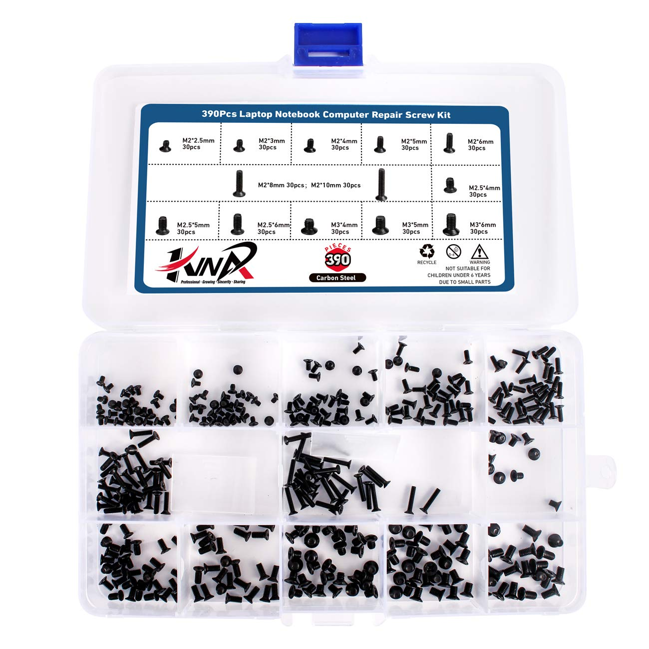 390Pcs Laptop Notebook Computer Repair Screw Kit,Flat Cross Head Replacement Repair Screw Set for Lenovo,Dell,Toshiba,HP,Gateway,ECT
