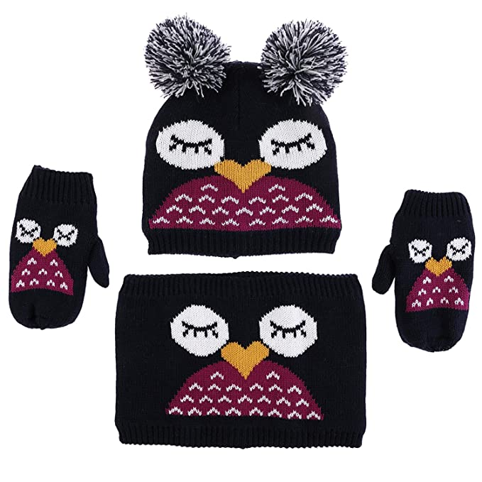 5c4241aa3b0 Infant Baby Hat Scarf Gloves Warm Winter Pom Beanie Girls Cute Owl  Neckerchief Boys Cotton Knit