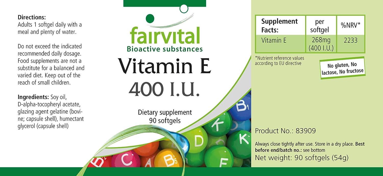 Vitamina E 400 UI - Altamente dosificado - 90 cápsulas blandas - antioxidante - ¡Calidad Alemana garantizada!: Amazon.es: Salud y cuidado personal