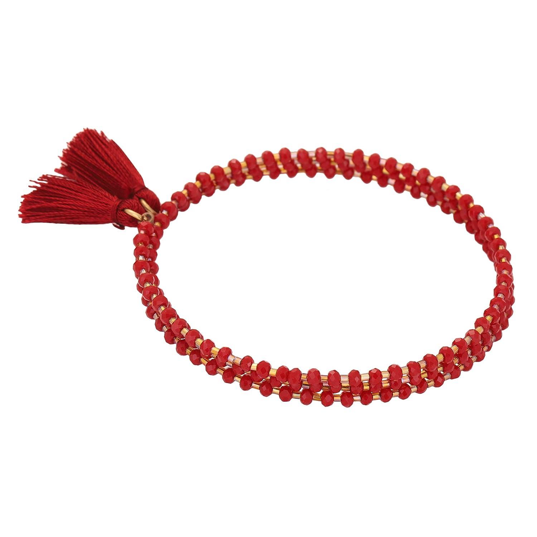 El Allure Preciosa Jablonex Seed Bead Grey and Rose Gold Japanese Cut Dana Trendy Handmade Fine Bangle for Women.