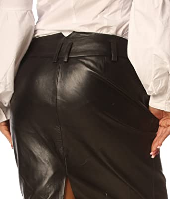Black Leather Skirt Tight Fit Nappa Skins SK99: Amazon.co.uk: Clothing