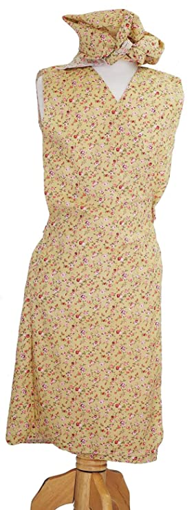 Nora-Hilda-Overall-WARTIME 1940/'s COPEN Floral Wrap Around Pinny-Headscarf-10-42
