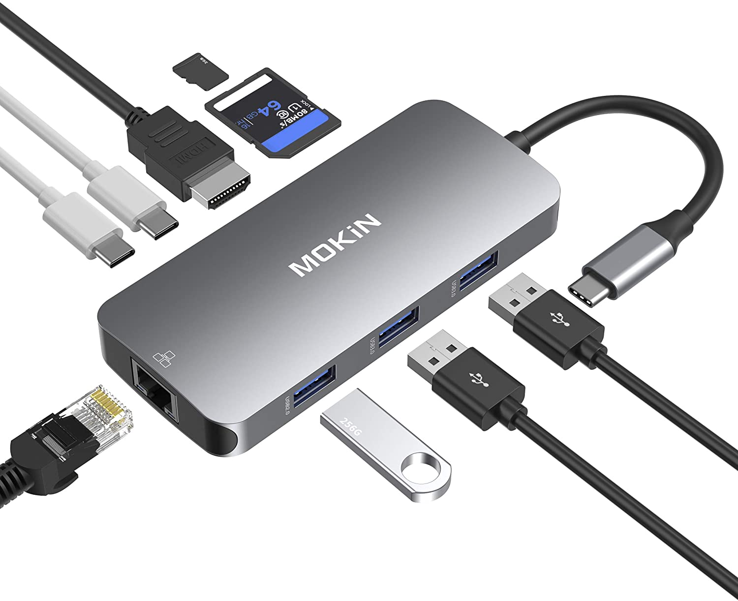 USB C Adapters for MacBook Pro/Air,Mac Dongle with 3 USB Port,USB C to HDMI, USB C to RJ45 Ethernet,MOKiN 9 in 1 USB C to HDMI Adapter,100W Pd Charging, USB C to SD/TF Card Reader USB C Hub