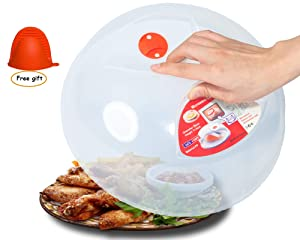 Microwave Plate Cover clear,Easy Grip large microwave Plate Splatter Guard Lid With Steam Vent Microwave Food Cover, BPA Free & 11.5 Inch, Dishwasher Safe-with anti-scalding silicone hand clip