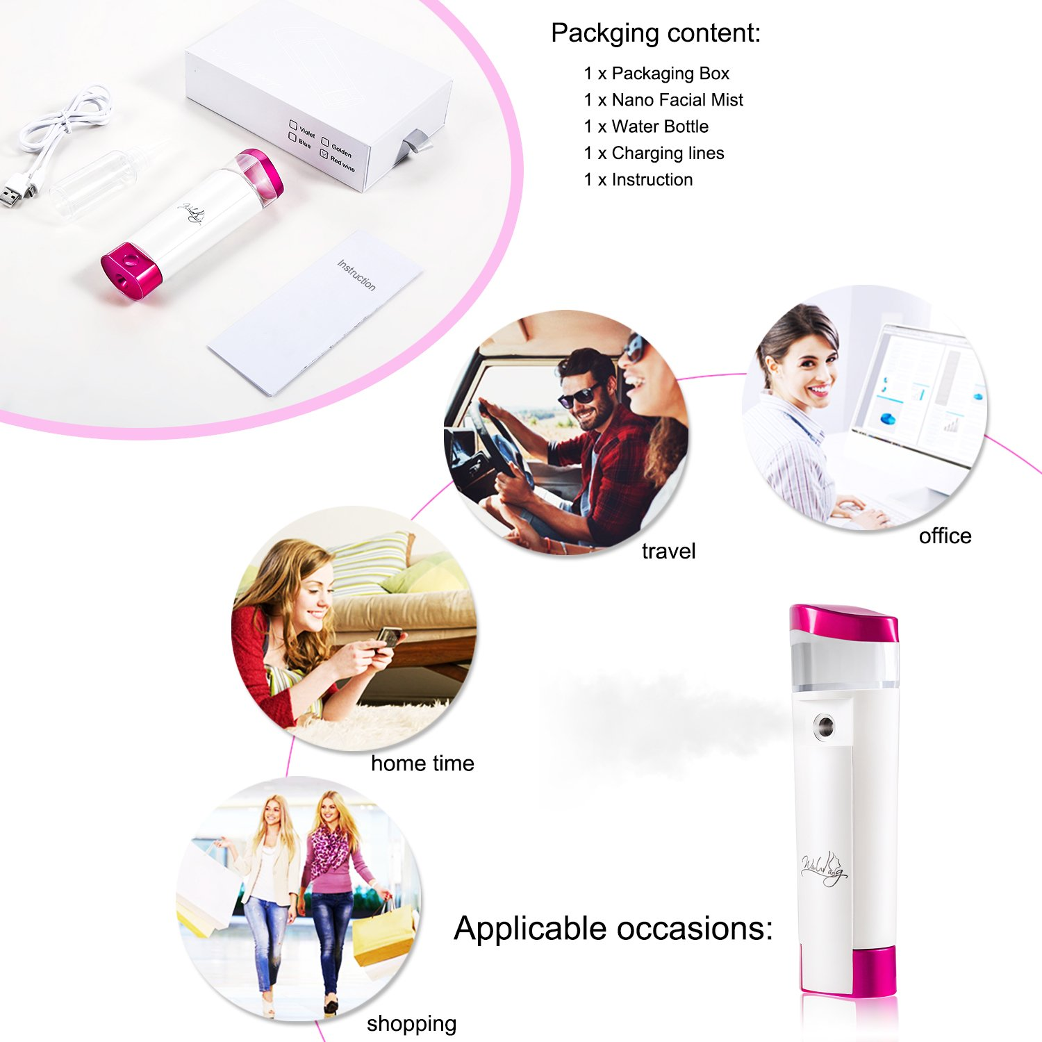 Portable Facial Steamer, Nano Cool Mist Facial Sprayer for Skin Care with Power Bank LED Light USB Port Charging (30ML Water Tank,Red) wanlvkang