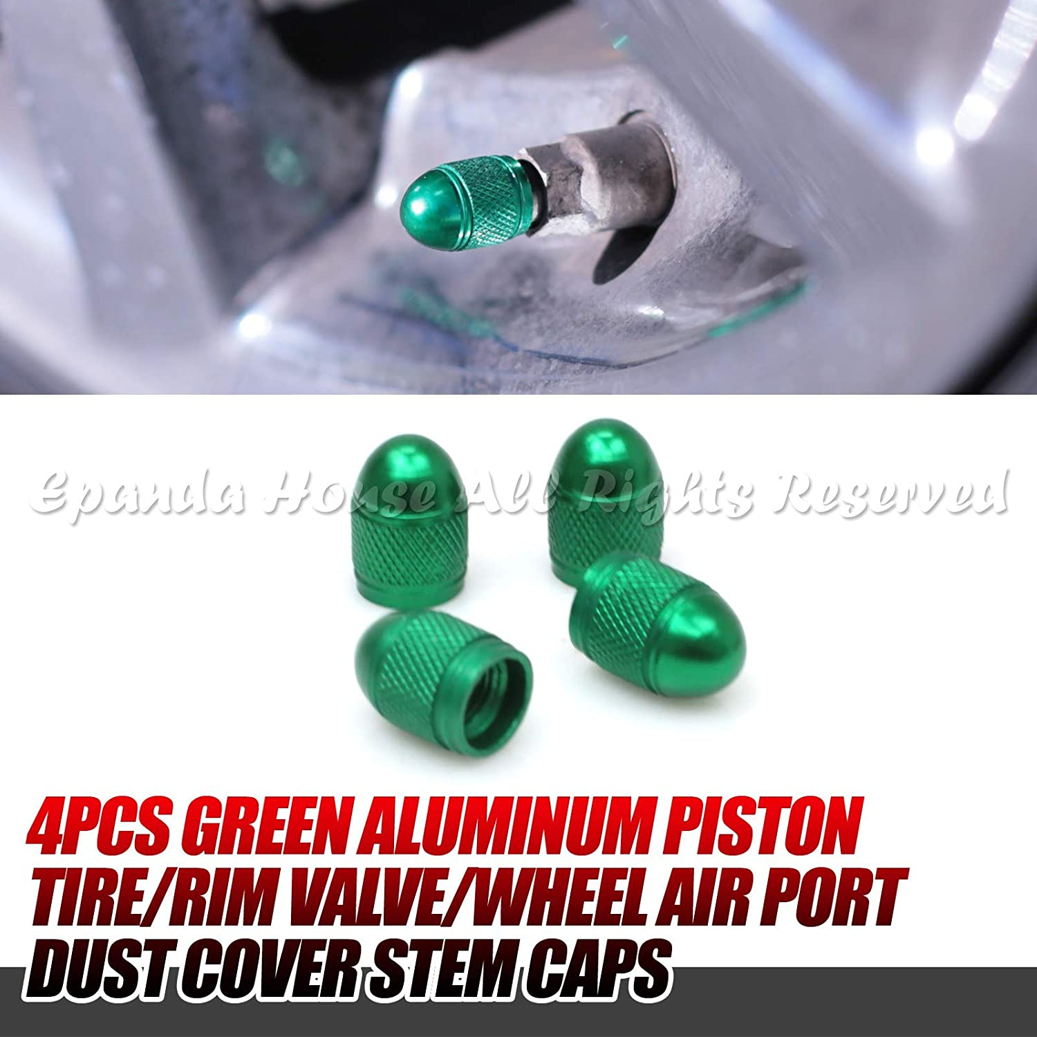 4x Aluminum Tire//Rim Piston Valve//Wheel Air Port Dust Cover Stem Cap//Caps Green