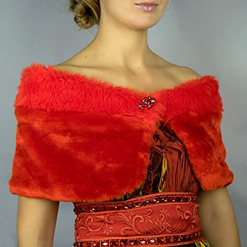 Chal estola piel sintetica rojo alta calidad bolero rojo vestido fiesta