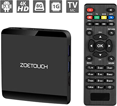 TV Box, ZOETOUCH Android 7.1.2 TV Box 1GB RAM 8GB ROM Smart TV Box 2.4GHz WiFi 3D 4K Android Box Home Media Player: Amazon.es: Electrónica