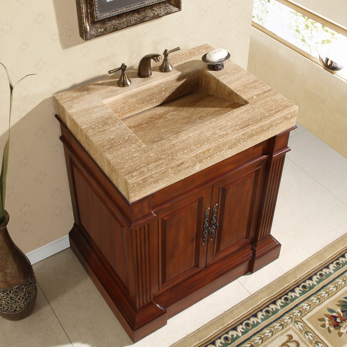 Amazon.com: Silkroad Exclusive Travertine Stone Single Ramp Sink Bathroom  Vanity With Bath Furniture Cabinet, 32.5 Inch: Home U0026 Kitchen