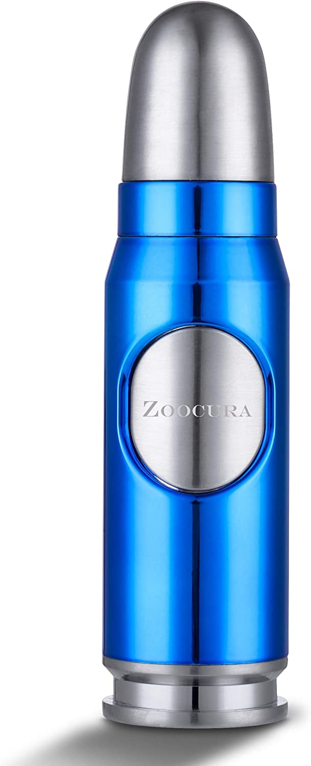 Zoocura Ice Blue Torch Lighter, Refillable Butane Torch Lighters Adjustable Jet Flame Windproof Lighter for Grill Pocket BBQ Camping, Deluxe Gift Box ( Gas Not Included)