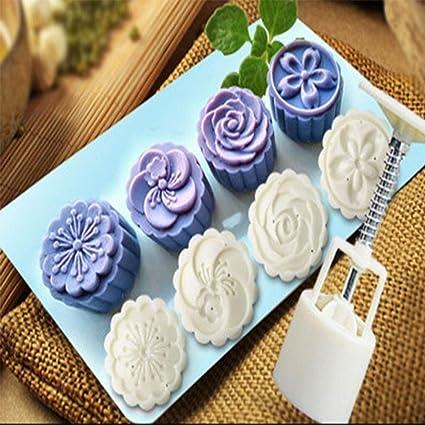 hunpta 4 flor sellos 50 G redonda de estilo Moon molde de tarta, color blanco